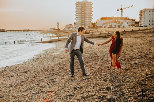 Lotus Photography UK 20200911 Dom & Rose Worthing Sussex Beach Engagement Photoshoot 26 WM