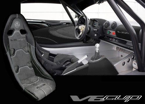 Standard interior picture of the Exige V6 Cup
