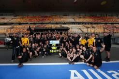 The Lotus F1 team celebrate a 2nd placed finish for Kimi Raikkonen, Lotus F1.
