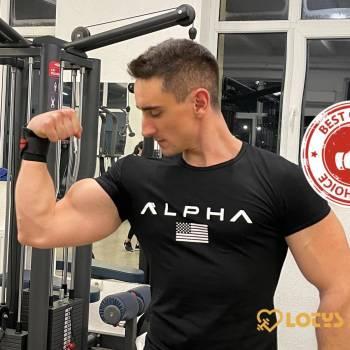 Men's Alpha Print Sports T-Shirt Men's sport items Men's t-shirts Sport items color: A Army Green|A Black|Army Green|Black|Black1|Black2|Black3|Black4|Black5|Camouflage|Gray|Gray1|Gray2|Jujube|Red|RIZS Black|RIZS Gray|White
