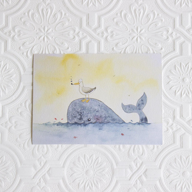 Whale art print, Nautical Nursery decor, Nursery art print