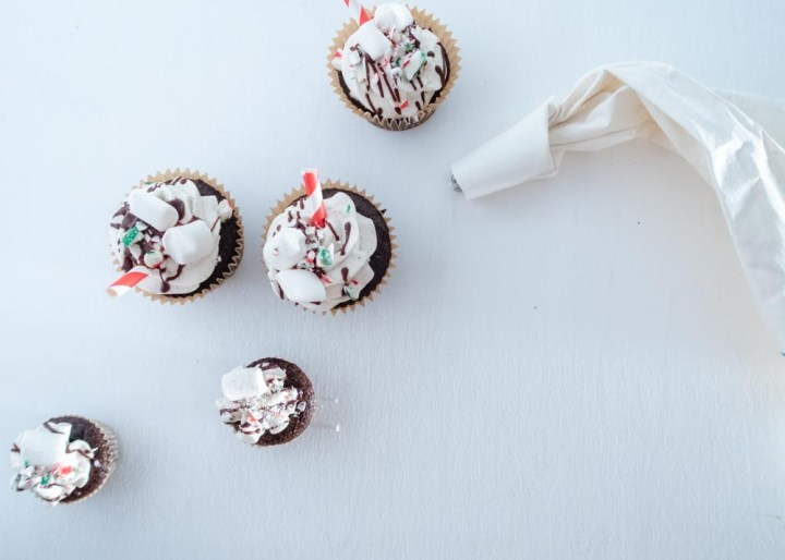 Peppermint Hot Chocolate Cupcake flatlay
