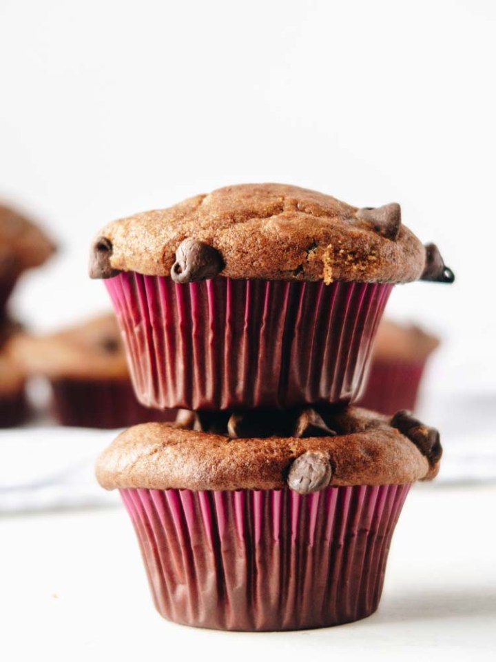 2 stacked Vegan Pumpkin Muffins cannabis infused edibles with Chocolate Chips