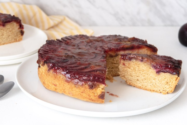 plum vegan weed cake sliced