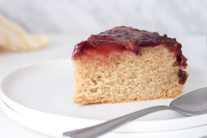 slice of plum vegan cannabis cake