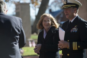 UNITED STATES - November 11, 2015 : The George C. Marshall International Center, the Town of Leesburg, and Loudoun County held a commemorate Veterans Day ceremony on the grounds of The Marshall House. Here Mayor of Leesburg Kristen Umstattd during the ceremony on the grounds of The Marshall House. (Photo By Douglas Graham/Loudoun Now)