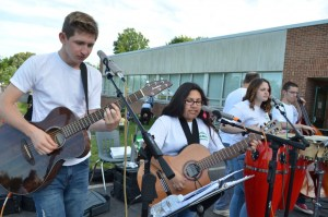 Members of Park View High School's World View band perform at Guilford Elementary School's 50th birthday celebration Thursday. (Danielle Nadler/Loudoun Now)