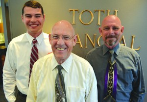 Tom Toth Sr., center, with his son, Thom Toth Jr., and grandson, Tom Toth III. (Loudoun Now/Danielle Nadler)