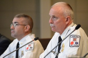 Combined Fire-Rescue System Assistant Chief Matt Tobia and Chief W. Keith Brower Jr. (Renss Greene/Loudoun Now)