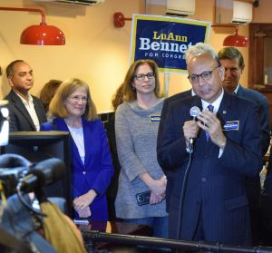 Khizr Khan addresses supporters of LuAnn Bennett during a rally the Leesburg Diner.