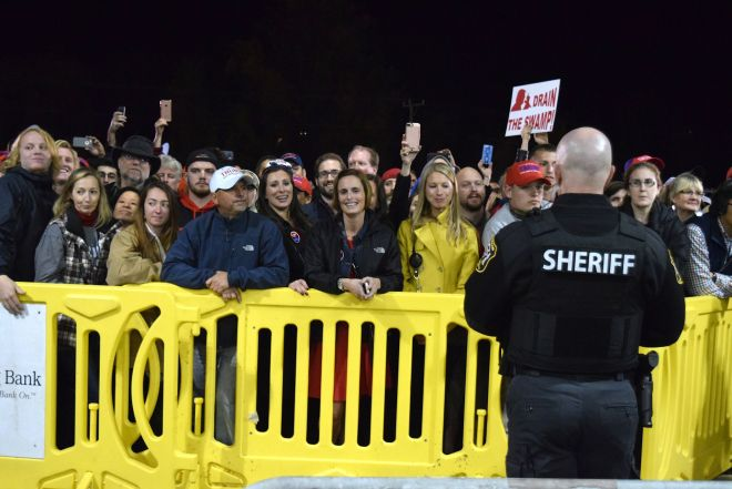 The overflow crowd at the Nov. 6 Trump rally at the Loudoun County Fairgrounds stands outside the arena, but within earshot of the activity on stage. [Norman K. Styer/Loudoun Now]