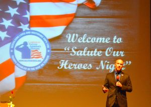 Donny Daughenbaugh, who was shot in the face while serving in Iraq in 2004, speaks during the Salute Ou Heroes dinner in Lansdowne.