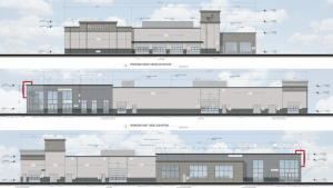 Proposed designs of the two car dealerships Brown's Car Stores wants to build in the East Market Street corridor.