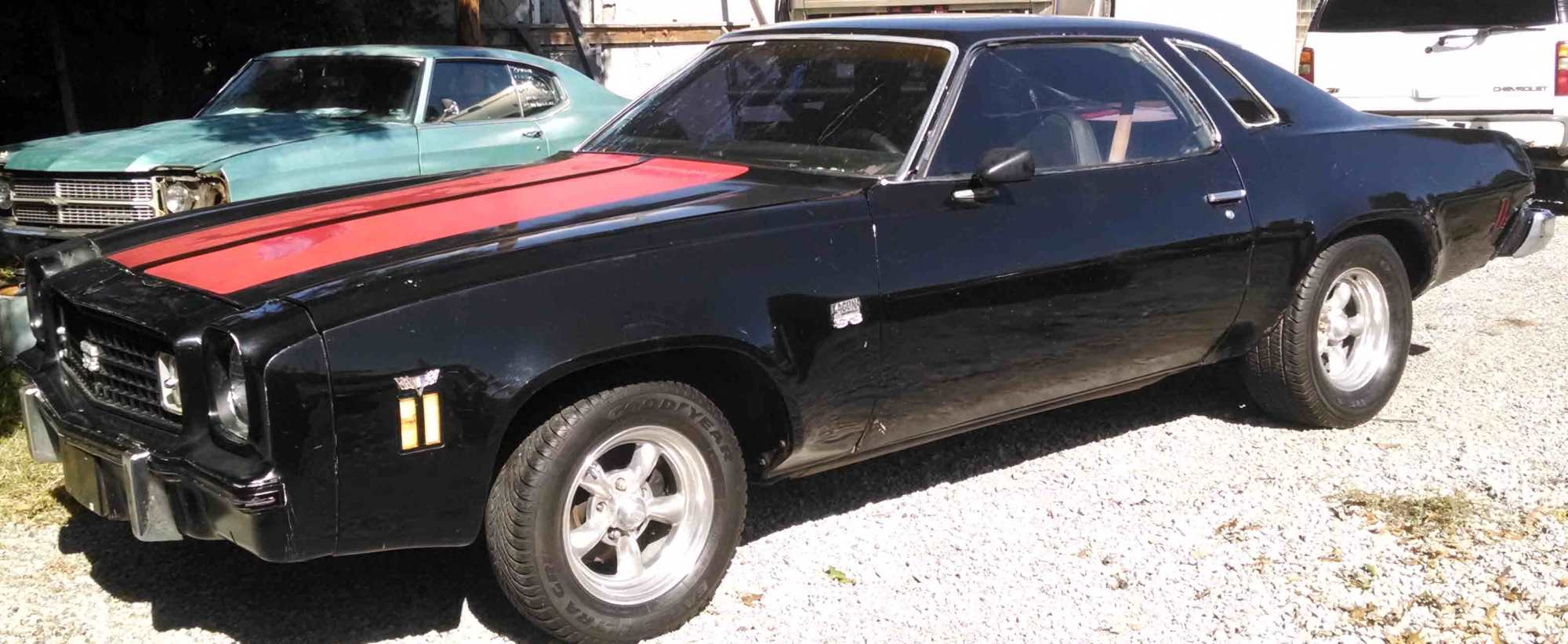 hight resolution of 1974 chevy chevelle laguna sold black with red stripes black cloth interior 350 v 8 auto 2 door