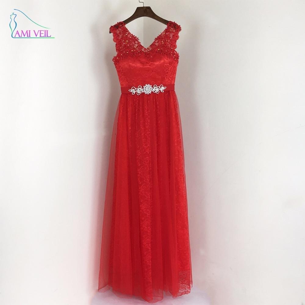 Abendkleid rot lang spitze
