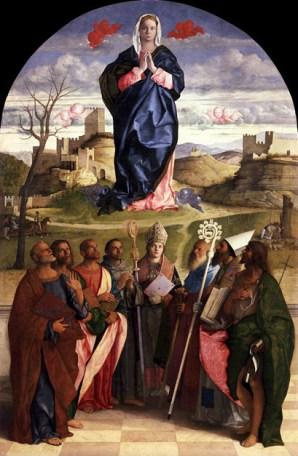 Bellini, 'Virgin in Glory with Saints' (1510-1515). Oil on panel.