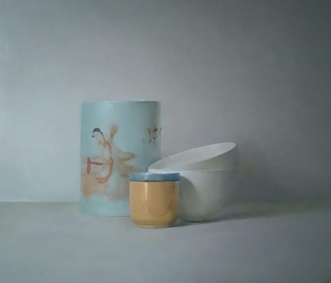 A beautiful still life of Chinese paint pots, bowls and a cup in light blues by Hellen Simmonds.