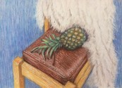 final version of chair with throw and pineapple in chalk pastels