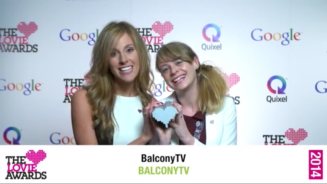 Louise Houghton Balcony TV collecting our Lovie Award with co-host Tina Edwards
