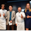 Chef Davide Oldani, BK Kang, Chef Michel Trisgros, Presenter Louise Houghton