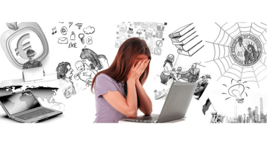 Woman at a laptop with her head in her hands. Images of her mental clutter all around her.