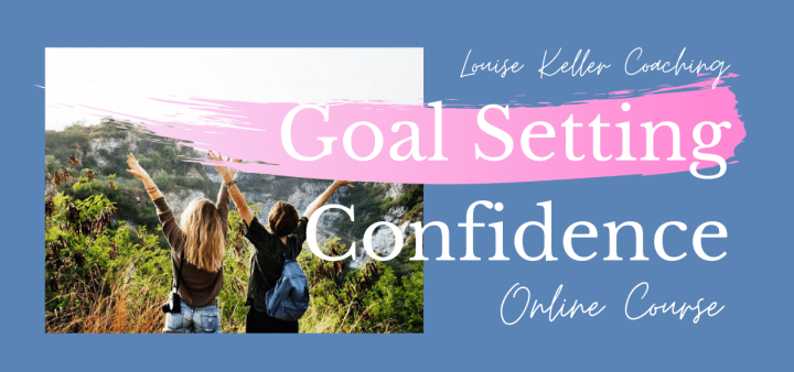 Goal Setting Confidence logo and two girls with arms in the air in nature