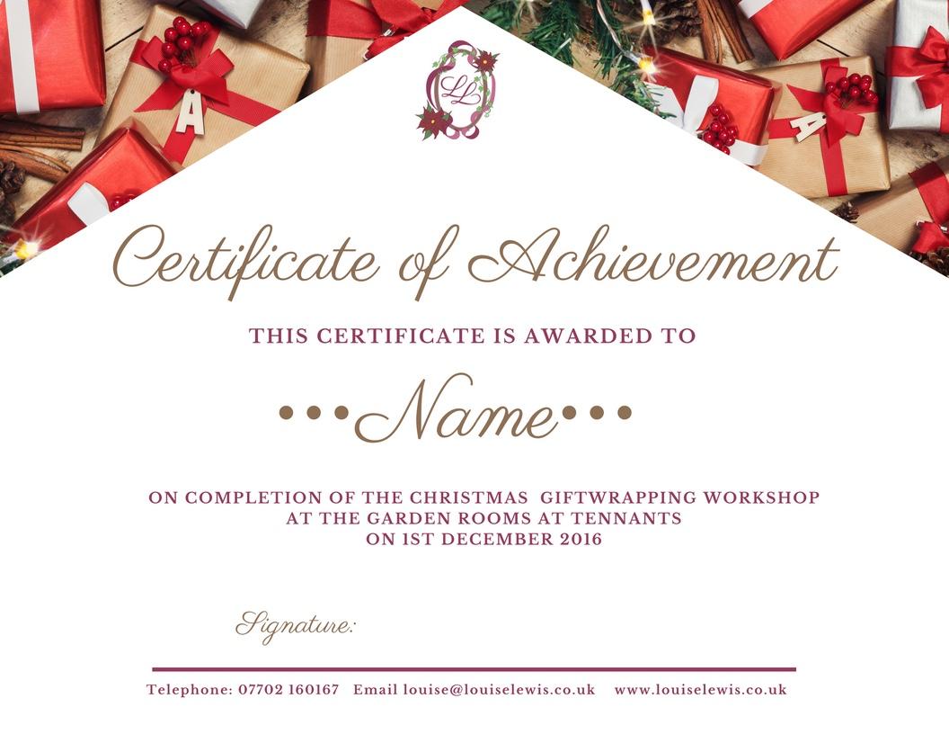 Certificate for Christmas Cracker Workshop