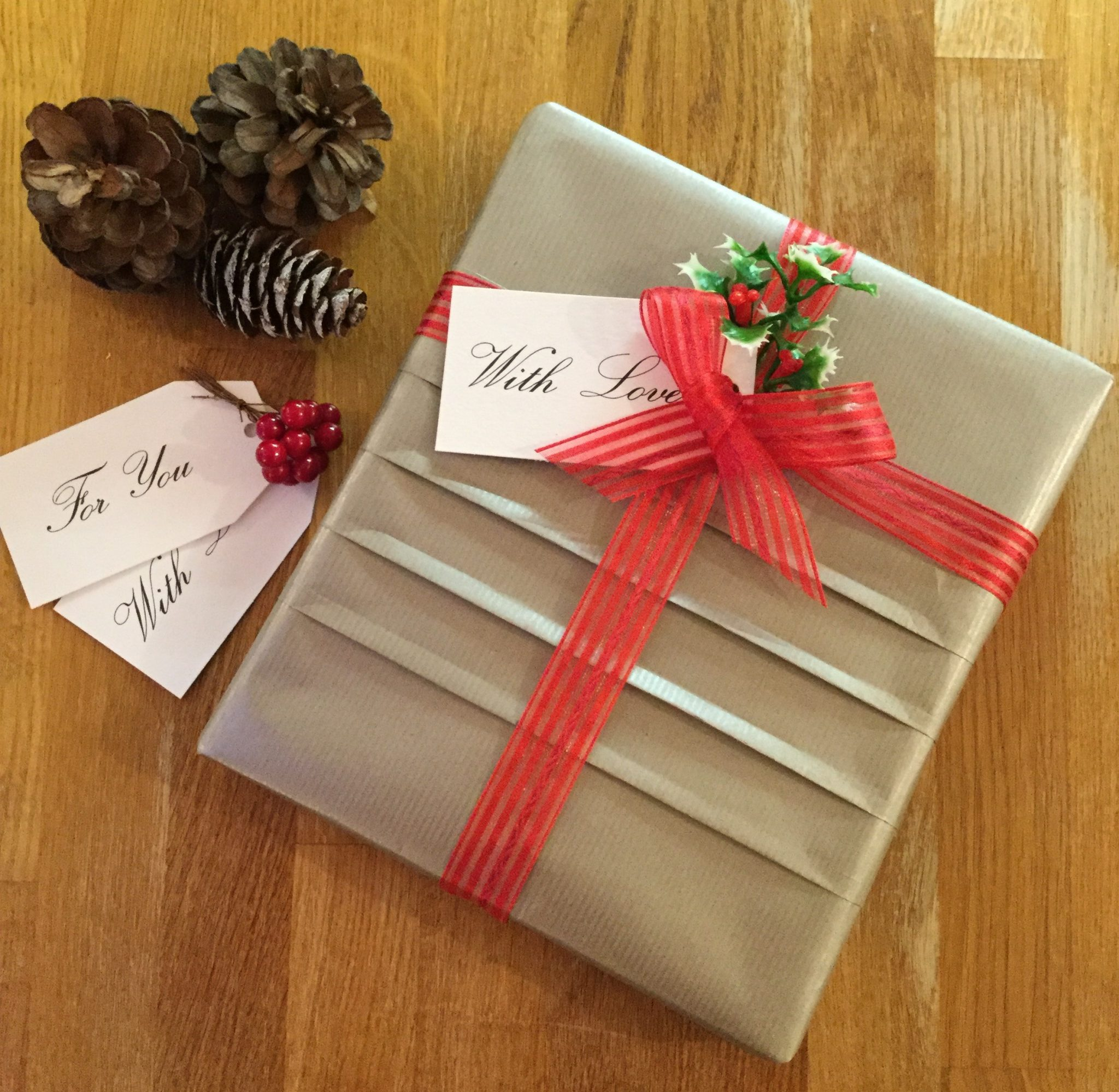 Giftwrapped parcel with pleats in the paper