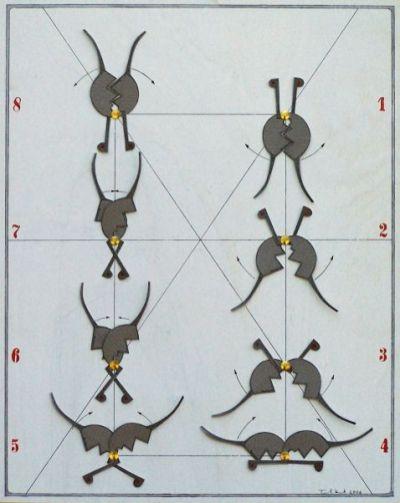 Tanz der kleinen schwarzen Witwe II | 2006, Papier auf Holz | 50 x 40 cm
