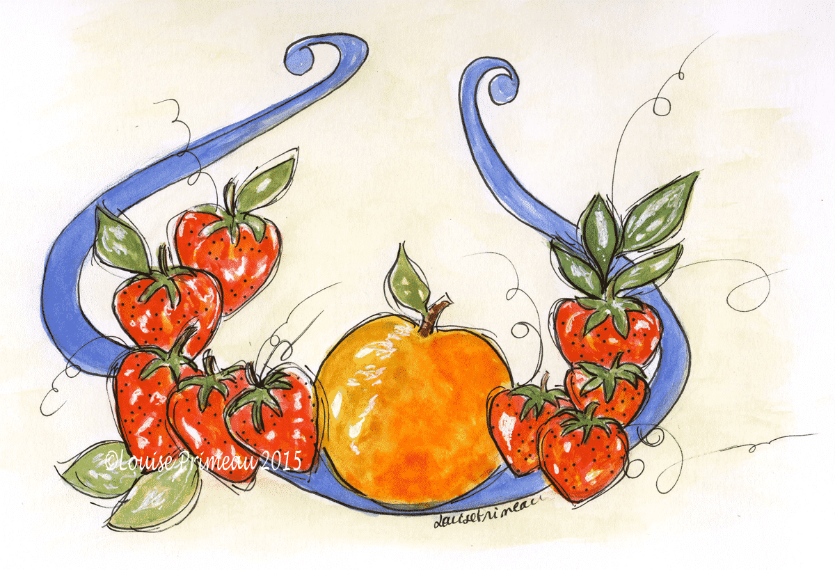watercolour and ink strawberry wreath