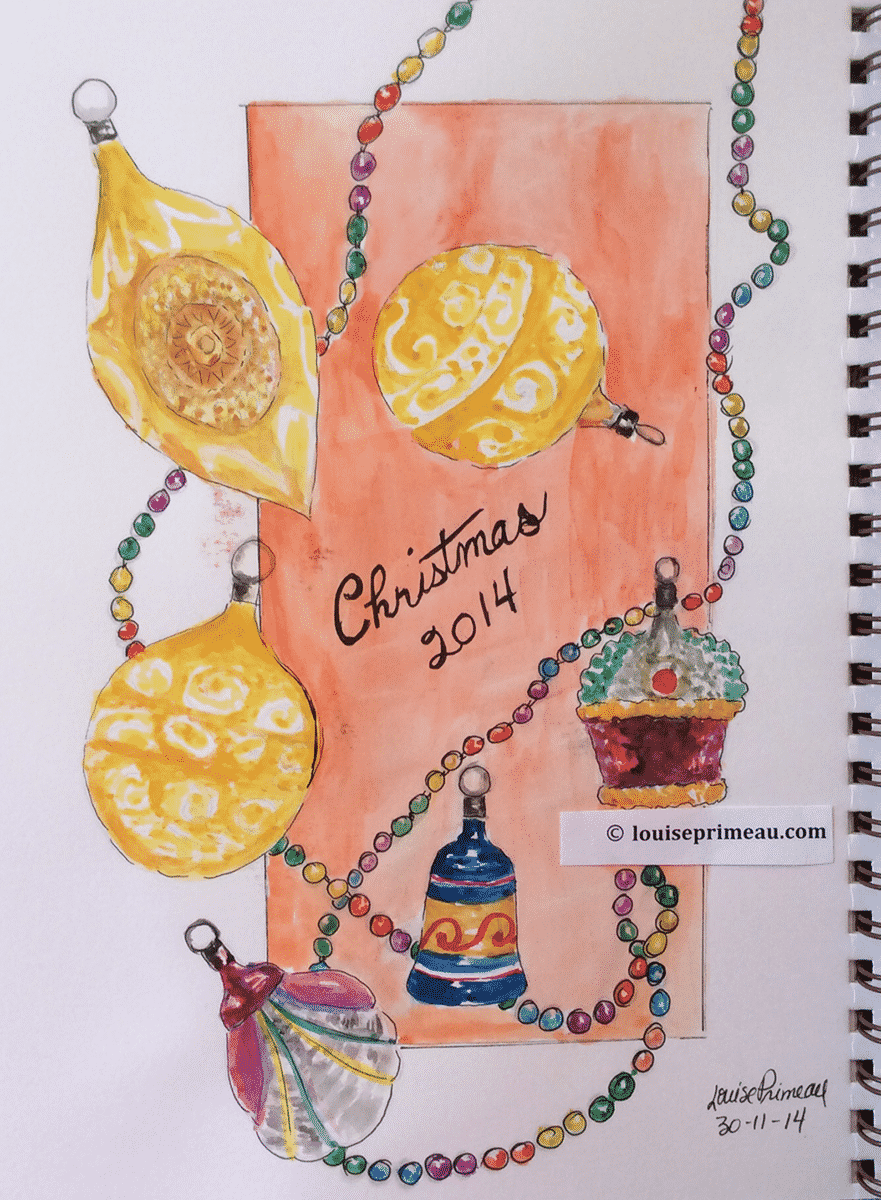 sketchbook ornaments using watercolours