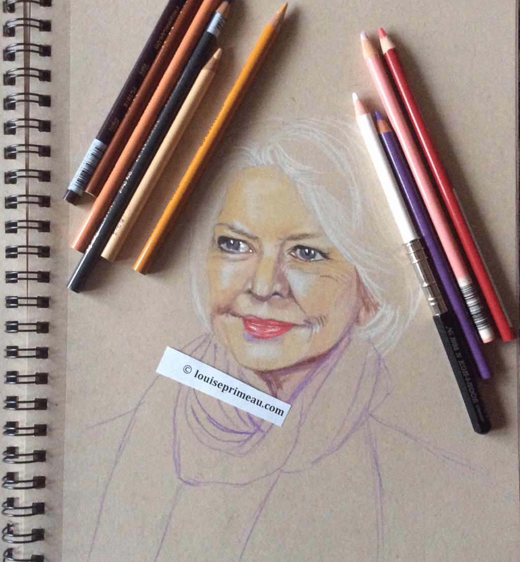 WIP Ellen Burstyn in Prismacolor pencil