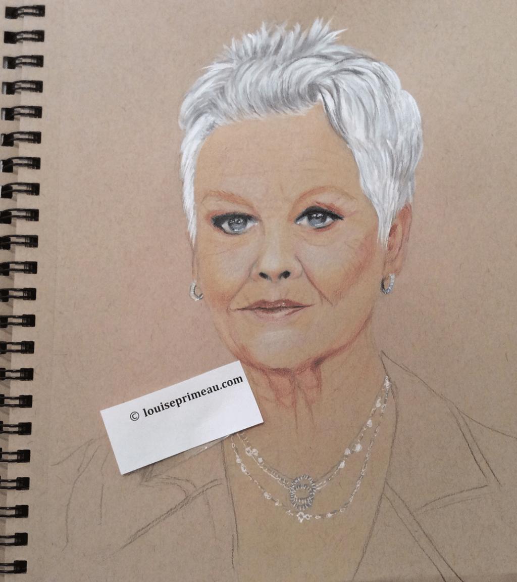 Dame Judi Dench - prismacolor pencil in sketchbook