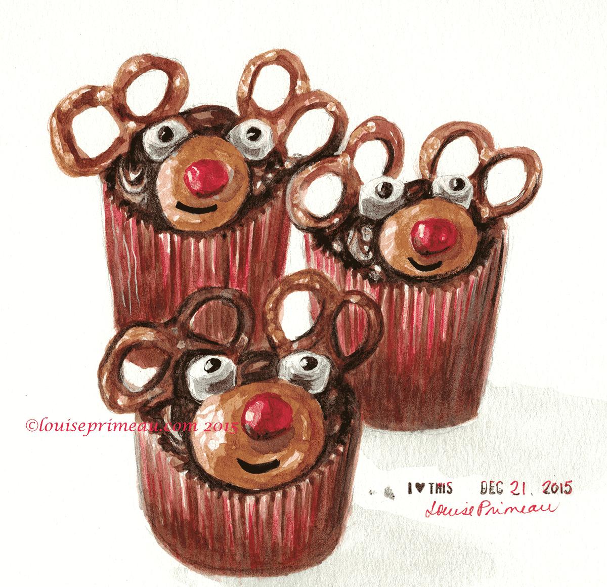 reindeer cupcakes watercolour