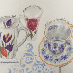 watercolour teacups