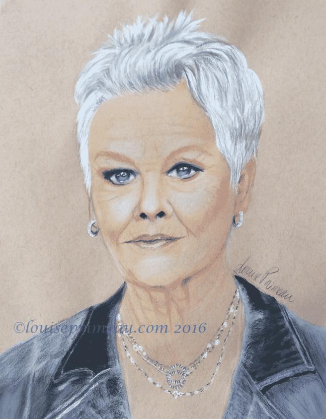 "mixed media portrait of Judi Dench ""M"" on James Bond"
