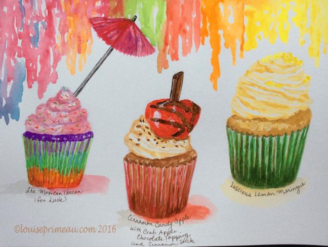 three watercolour cupcakes