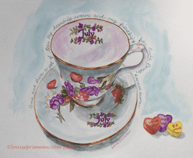watercolour and ink teacup for July