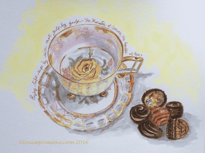 watercolour teacup old-fashioned rose