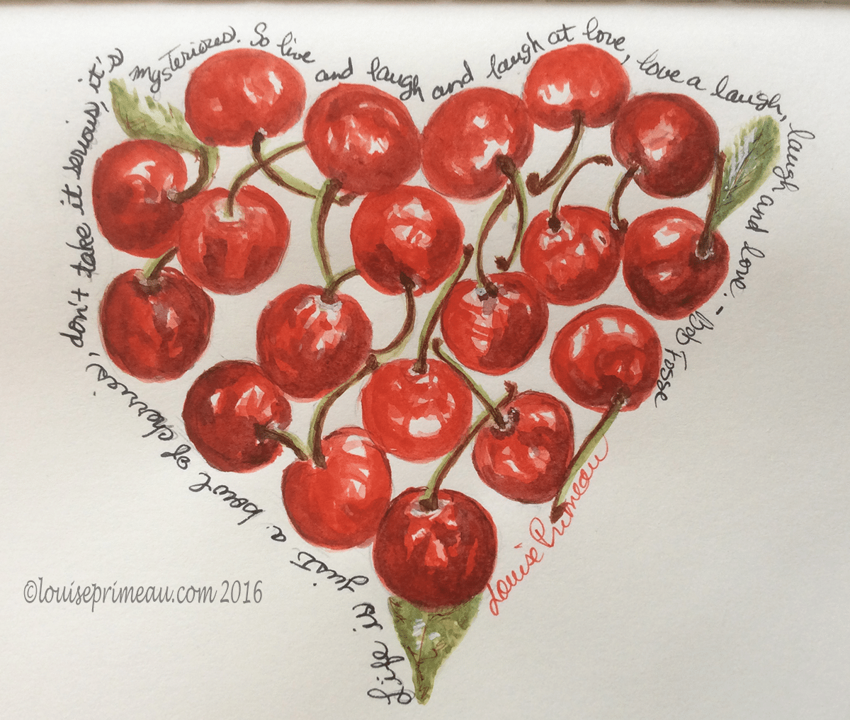 heart made of cherries