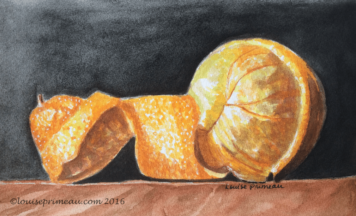 paint and draw together challenge - half-peeled orange