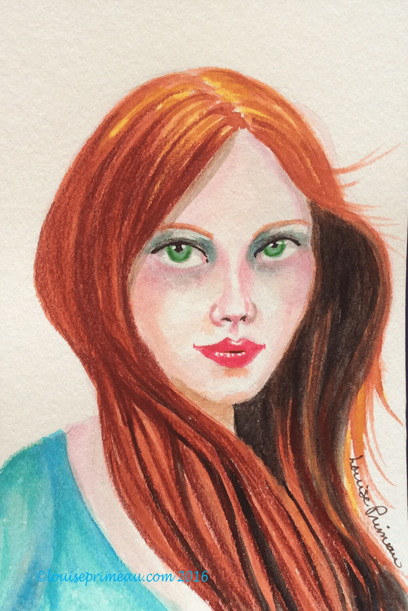 red haired woman with green eyes in watercolour