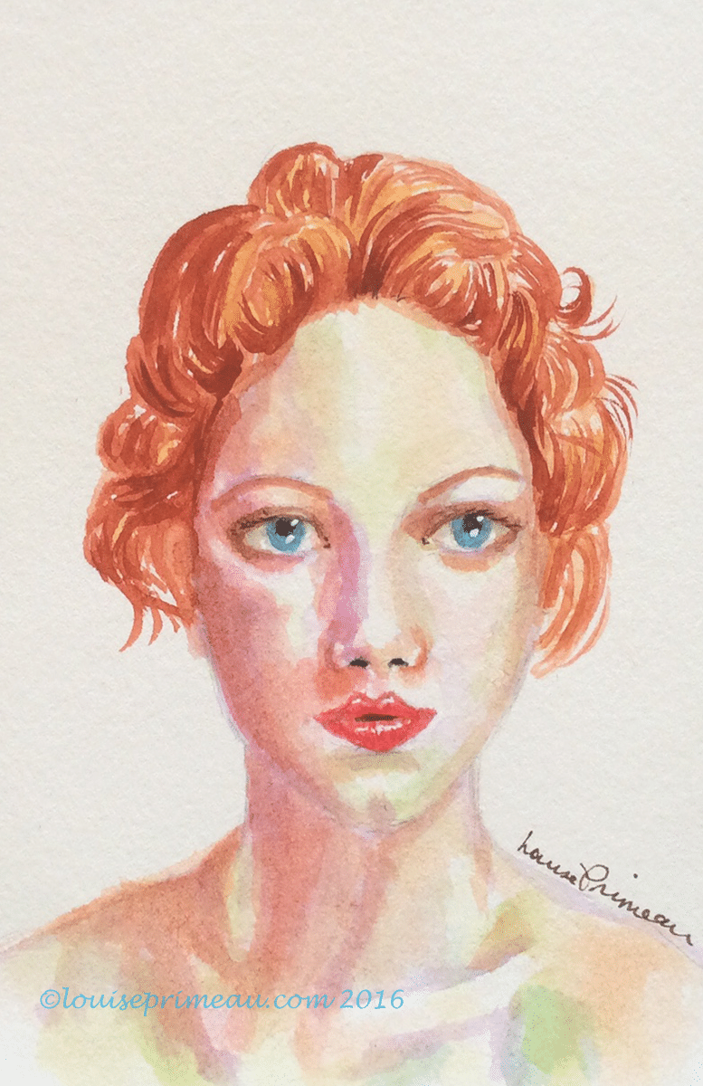 red haired woman in watercolour