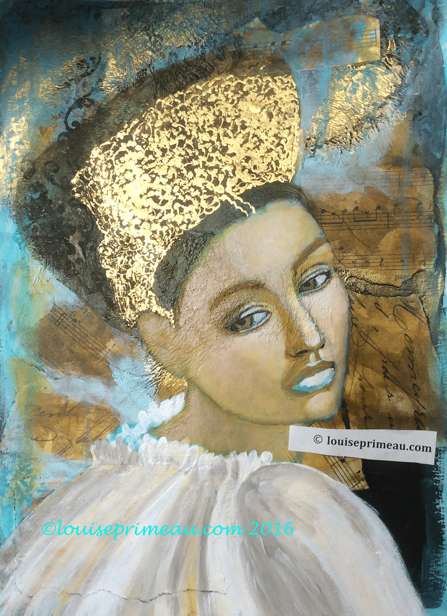 crown of gold is added to mixed media princess