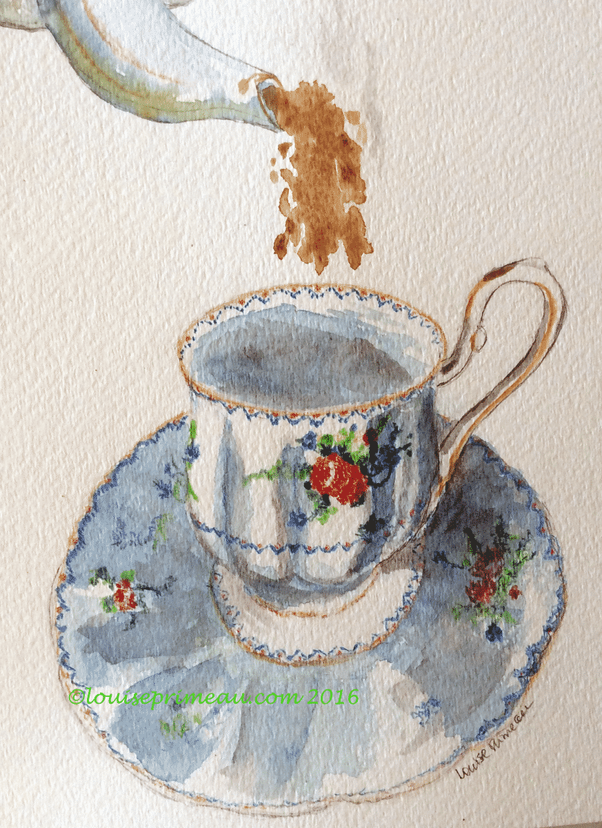 watercolour and coloured pencil painting of petit point teacup