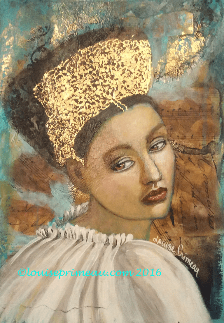 final touches are added to mixed media princess
