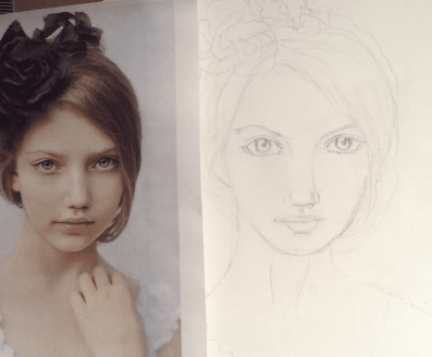 Sketch girl flower
