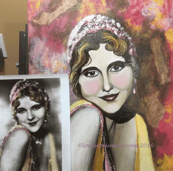 mixed media vintage girl portrait