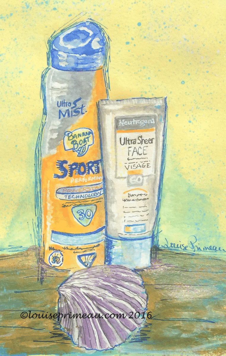 journal entry - sunscreens in mixed media