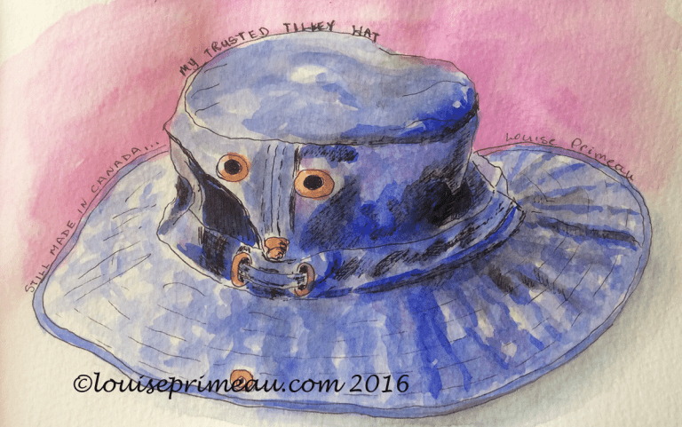 sketch of Tilley hat in ink and watercolour